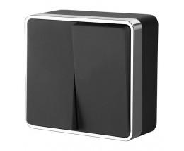 Выключатель двухклавишный Werkel  WL15-03-01 (черный)