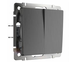 Выключатель двухклавишный без рамки Werkel  WL04-SW-2G (графит рифленый)