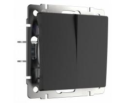 Выключатель двухклавишный без рамки Werkel черный матовый W1120008