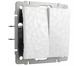 Выключатель двухклавишный без рамки Werkel  W1220001 (белый)