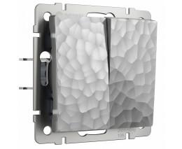 Выключатель двухклавишный без рамки Werkel  W1222006 (серебряный)