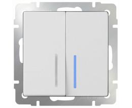 Выключатель двухклавишный с подсветкой без рамки Werkel Белый WL01-SW-2G-LED