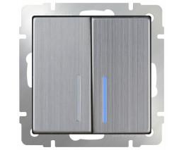 Выключатель двухклавишный с подсветкой без рамки Werkel Глянцевый никель WL02-SW-2G-LED